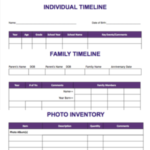 photo organizing forms